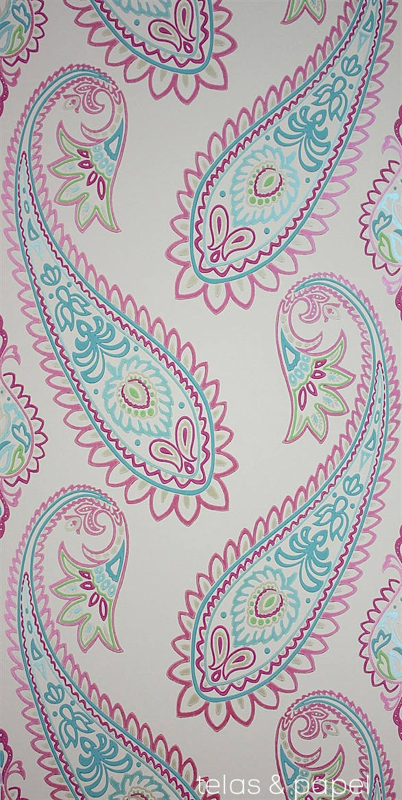 Tienda online telas papel papel pintado nizam fresa - Papel pintado turquesa ...