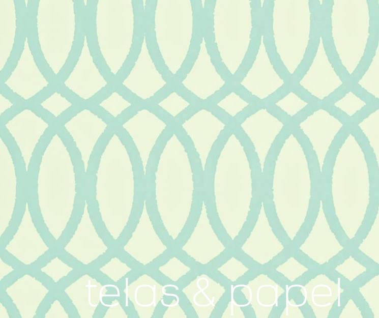Tienda online telas papel papel pintado erin turquesa for Papel pintado turquesa y marron