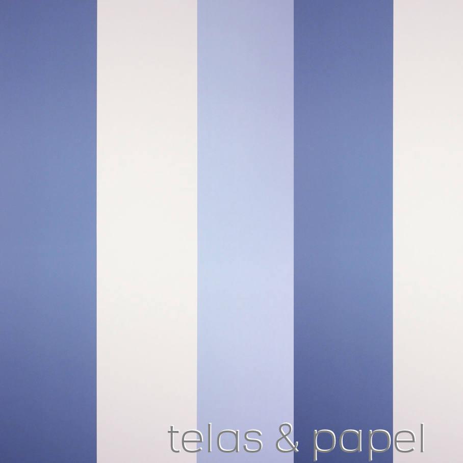 Papel pintado rayas carnaby azul telas papel for Papel pintado azul