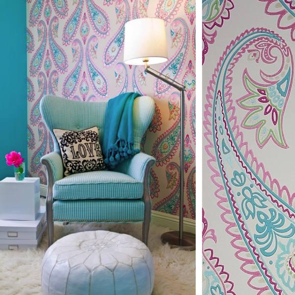Papel pintado con estampado paisley telas papel for Papel pintado turquesa y marron