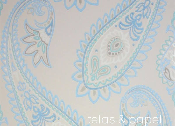 Tienda online telas papel papel pintado con estampado for Papel pared turquesa