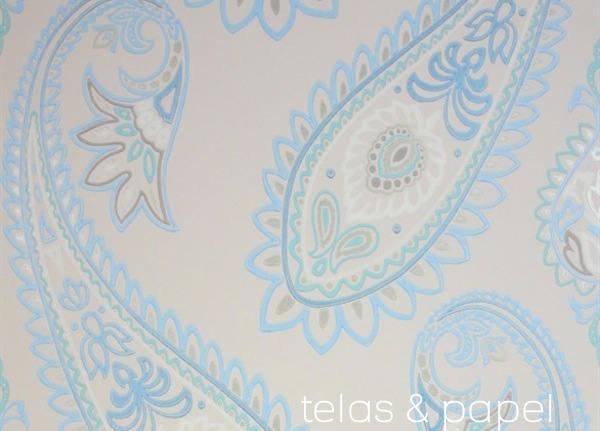 papel pintado paisley Nizam azul