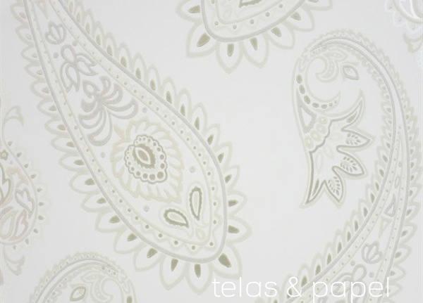 papel pintado paisley Nizam blanco roto