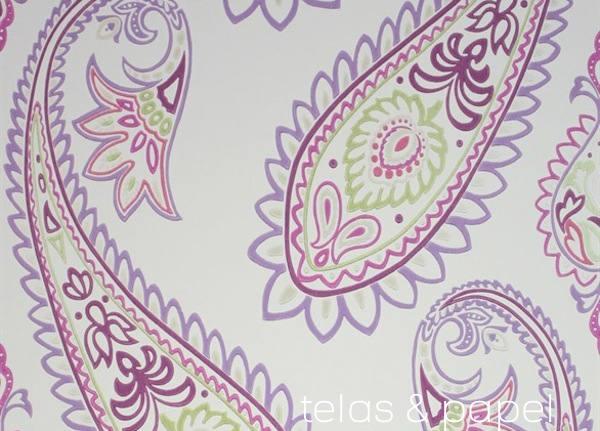 Tienda online telas papel papel pintado con estampado - Papel pintado morado ...