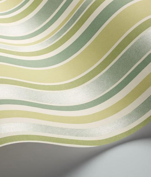 Papel pintado rayas jubilee verde telas papel for Papel pintado rayas verdes