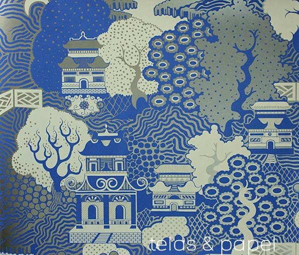 Tienda online telas papel papel pintado summer palace for Papel pintado oriental