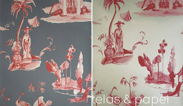 Tienda online telas papel papel pintado toile de jouy for Papel pintado rojo
