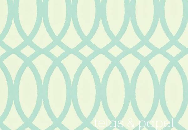 Tienda online telas papel papel pintado trellis en for Papel pintado color turquesa