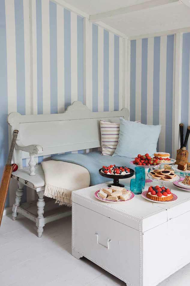 Tienda online telas papel papel pintado rayas anchas glastonbury azulito - Papel para salon ...