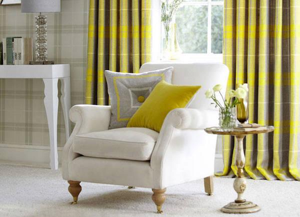Tienda online telas papel telas online a cuadros y rayas for Cortinas amarillas