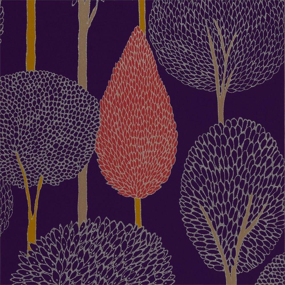 tienda online telas papel papel pintado siluetas arboles terracota