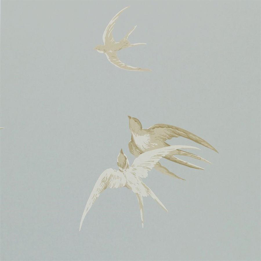 Tienda online telas papel papel pintado golondrinas for Papel pintado color plata