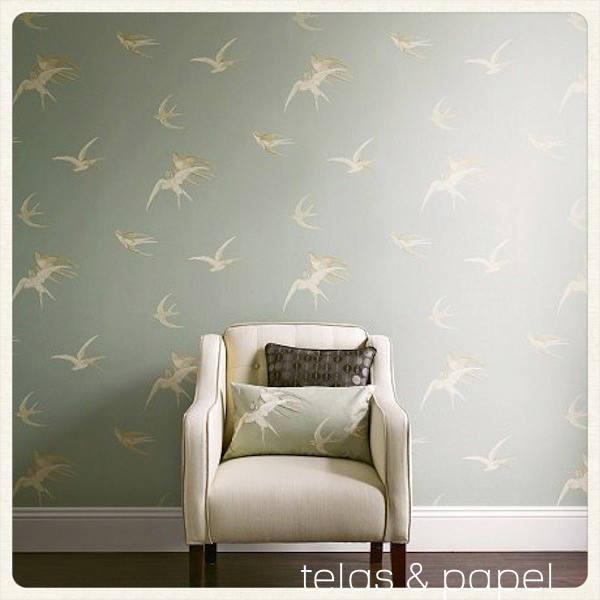 Papel pintado golondrinas gris plata telas papel Papel pintado salon