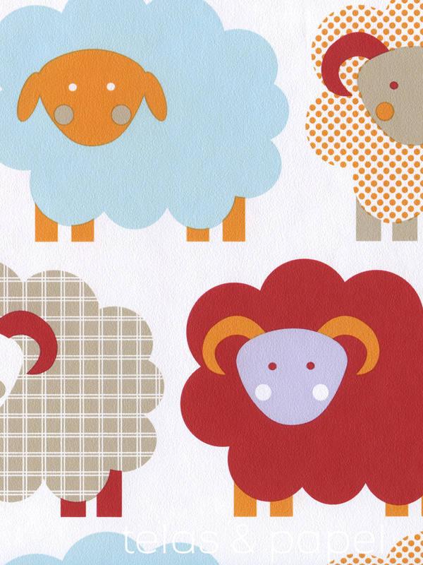 Tienda online telas papel papel pintado infantil for Papel pintado rojo