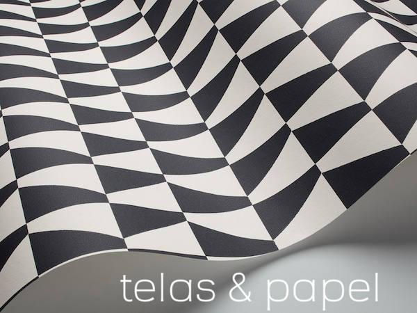 Tienda online telas papel papel pintado inspirado en for Papel pintado blanco y plata