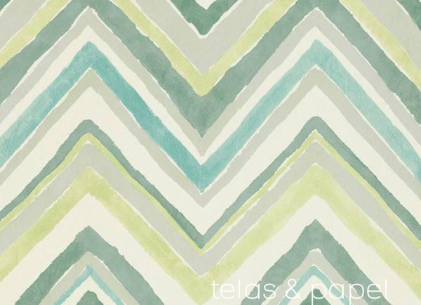 Papel pintado de rayas en zig zag telas papel - Colores verdes azulados ...