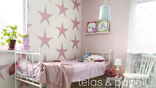 Fondo de rayas rosas con estrellas imagui - Dormitorio con papel pintado ...