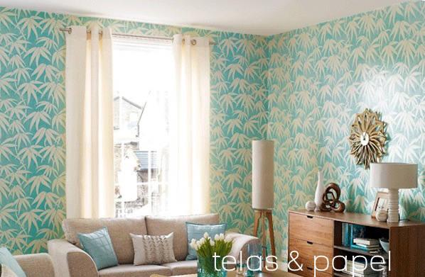 Papel pintado japon en las paredes telas papel - Papeles pintados salon ...