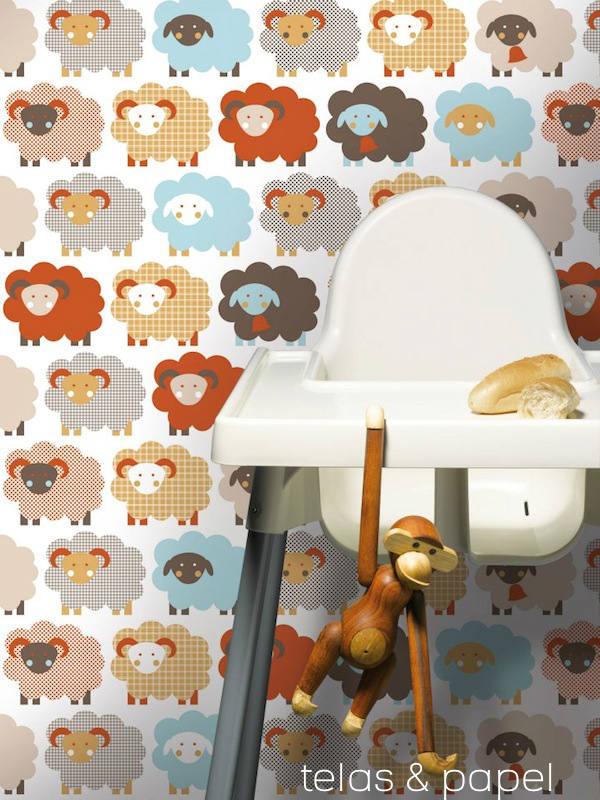 Tienda online telas papel papel pintado infantil con ovejas - Papeles pintados bebe ...