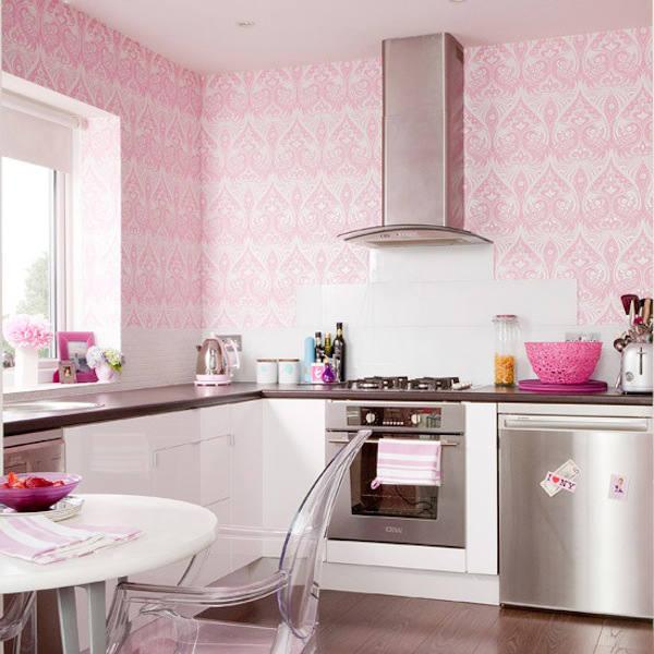 Tienda online telas papel papel pintado en la cocina - Cocina rosa ...