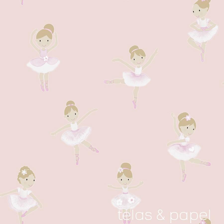 Papel pintado bailarinas rosa telas papel - Papel pintado rosa ...