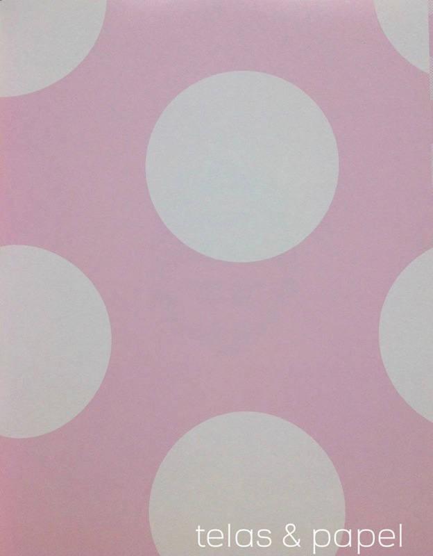 Papel pintado lunares grandes blancos telas papel for Papel pintado lunares