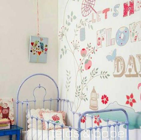 Tienda online telas papel mural papel pintado flowers day for Papel pintado mural