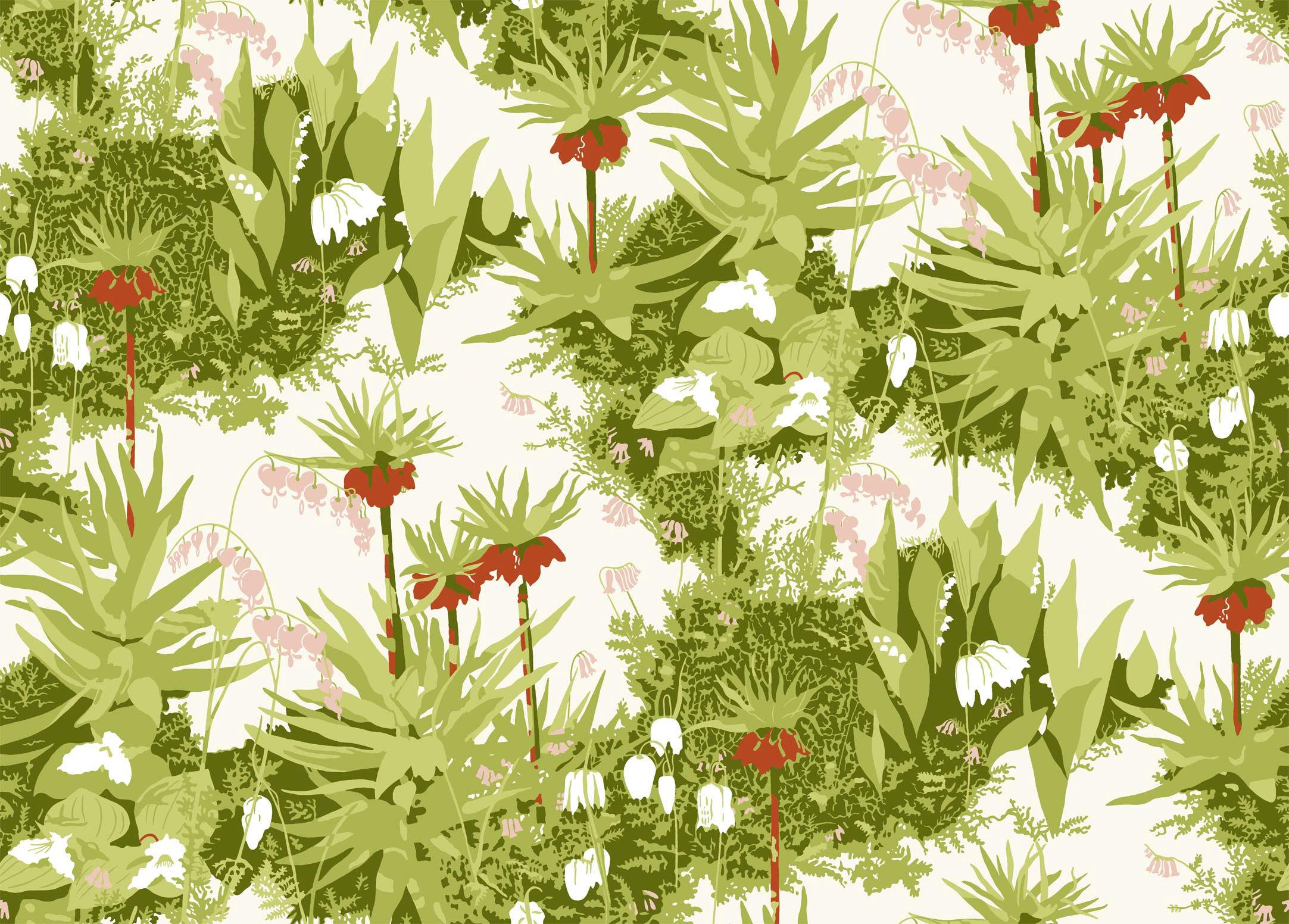 Tienda online telas papel papel pintado paisaje pehrson blanco - Papel pintado paisajes ...