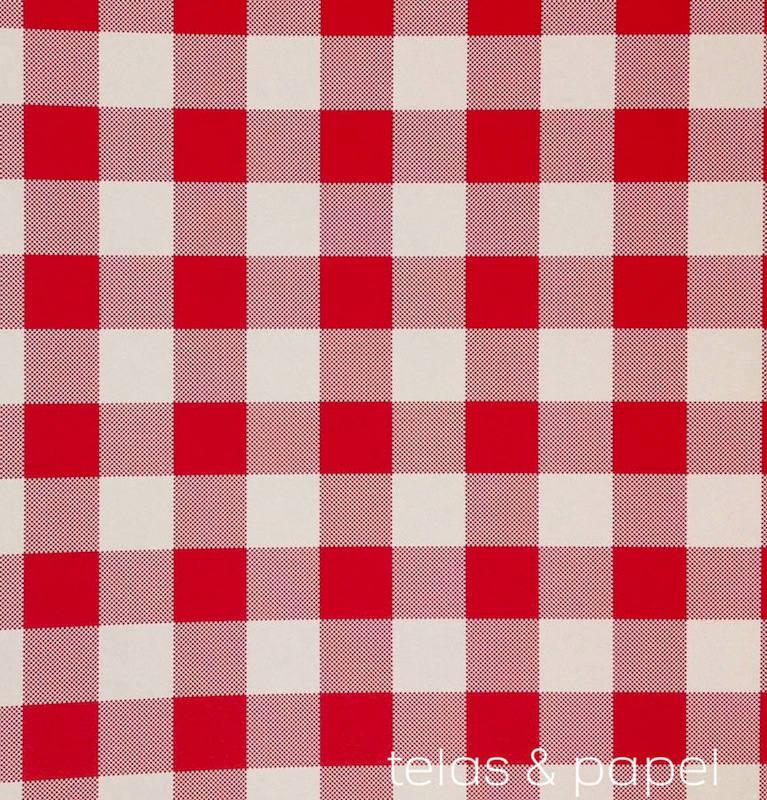 Papel pintado cuadros check rojo telas papel for Papel pintado rojo