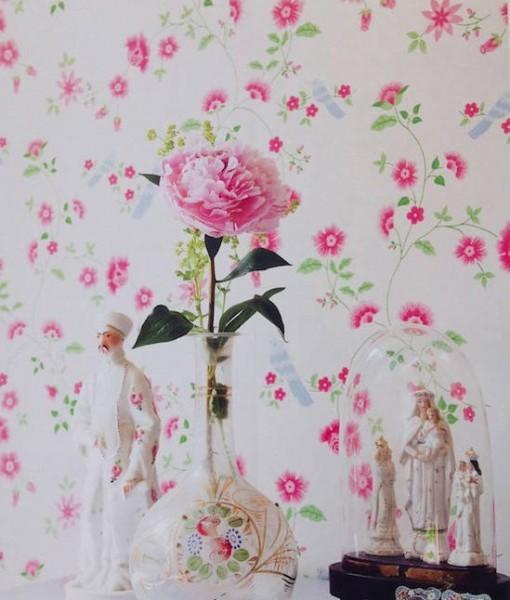 Papel pintado pajaros sobre ramas blanco telas papel - Papel pintado sobre gotele ...