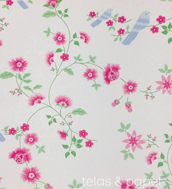 Tienda online telas papel papel pintado pajaros sobre - Papel pintado ramas arbol ...