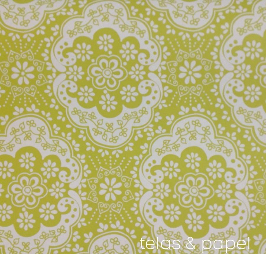 Tienda online telas papel papel pintado encaje verde - Papel pintado verde ...