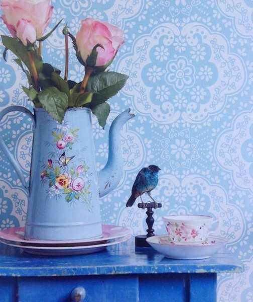 Papel pintado encaje azul turquesa telas papel for Papel pintado azul turquesa