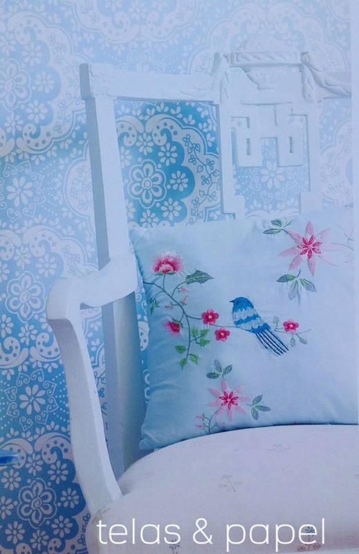 Tienda online telas papel papel pintado encaje azul for Papel pintado color turquesa