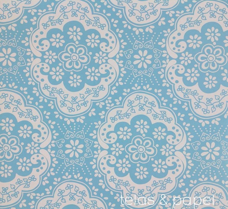Tienda online telas papel papel pintado encaje azul - Papel pintado turquesa ...