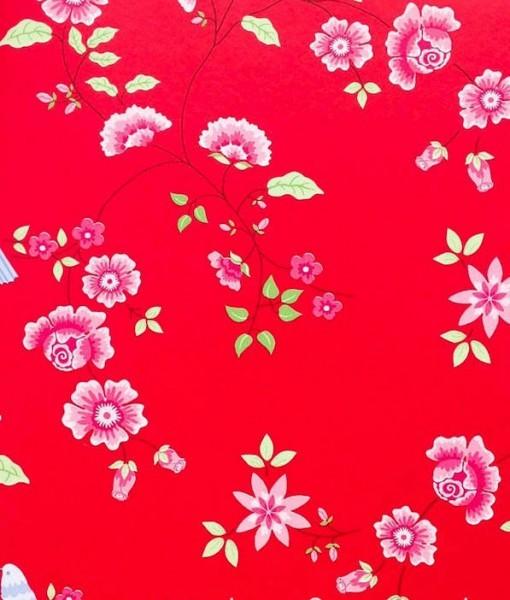 Tienda online telas papel papel pintado pajaros sobre ramas rojo - Papel pintado rojo y blanco ...