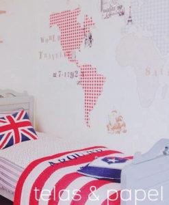 Tienda online telas papel murales papel pintado - Papel pintado mapamundi ...