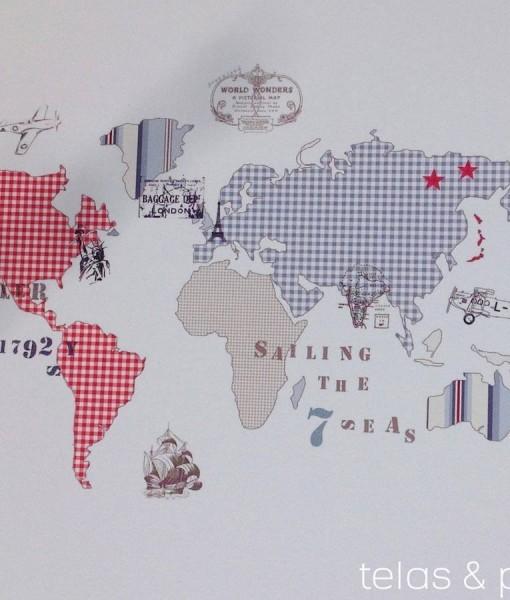 Tienda online telas papel mural papel pintado mapamundi - Papel pintado mapamundi ...