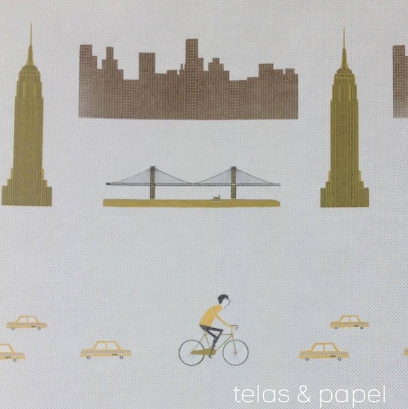 Tienda online telas papel papel pintado nueva york dorado - Papel pintado nueva york ...