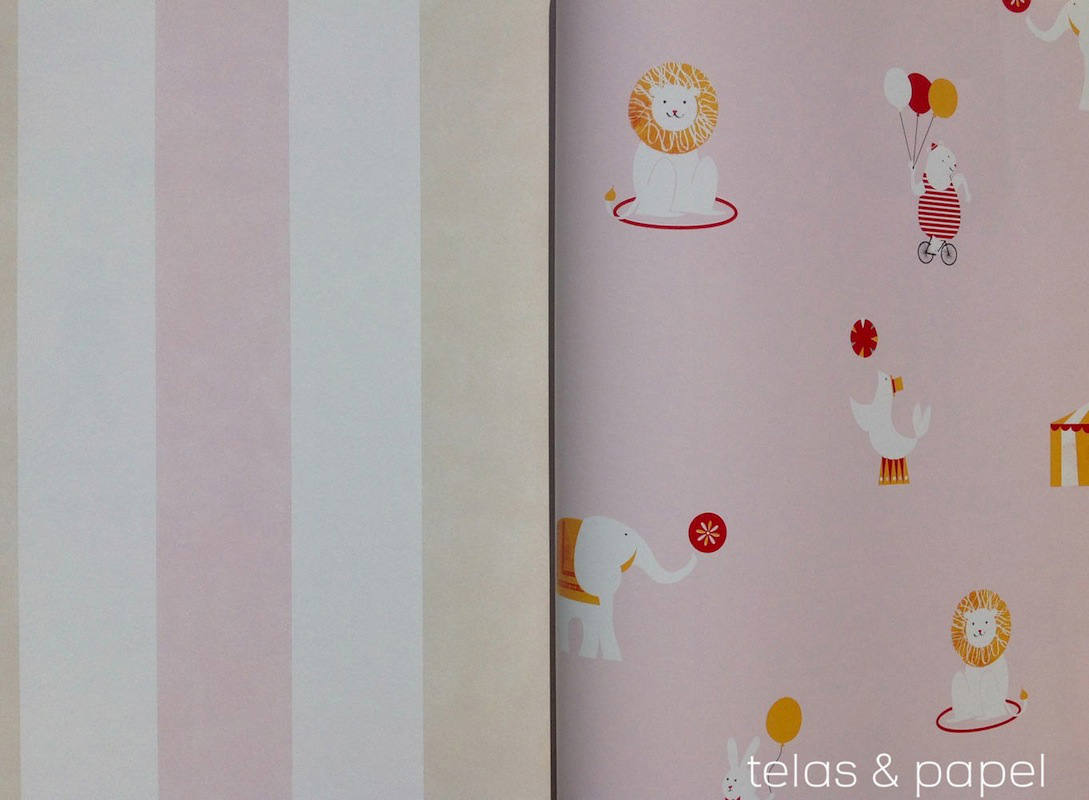 Tienda online telas papel papel pintado infantil circus rosa - Papel pintado rosa ...