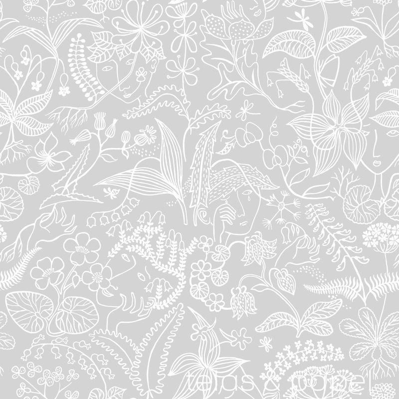 Tienda online telas papel papel pintado stig lindberg gris for Papel pintado color plata