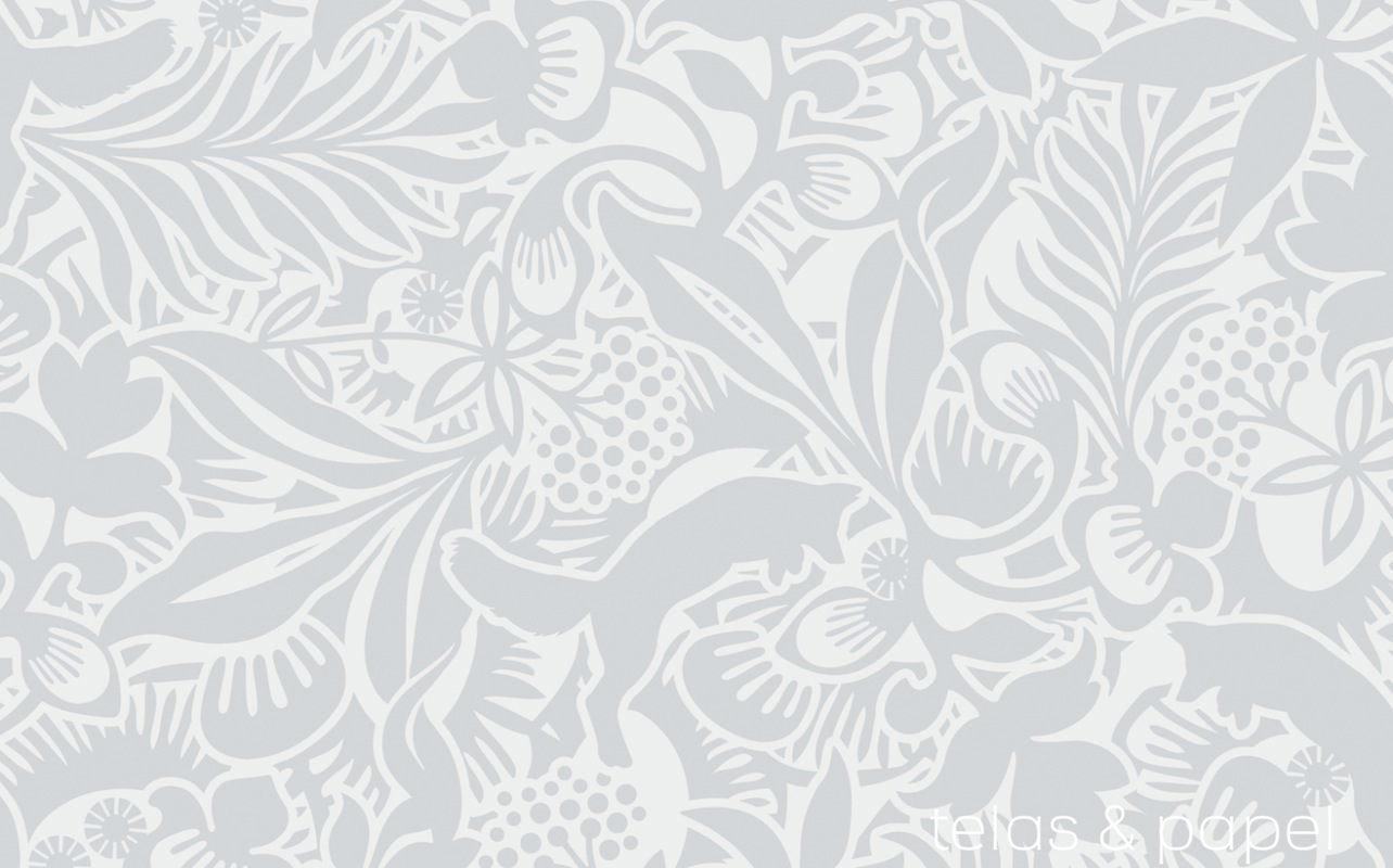 Tienda online telas papel papel pintado flores y - Papel pintado blanco y gris ...