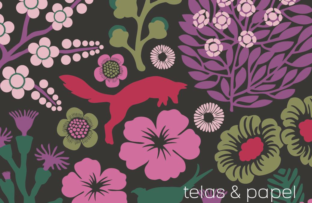 Tienda online telas papel papel pintado flores y - Papel pintado colores ...