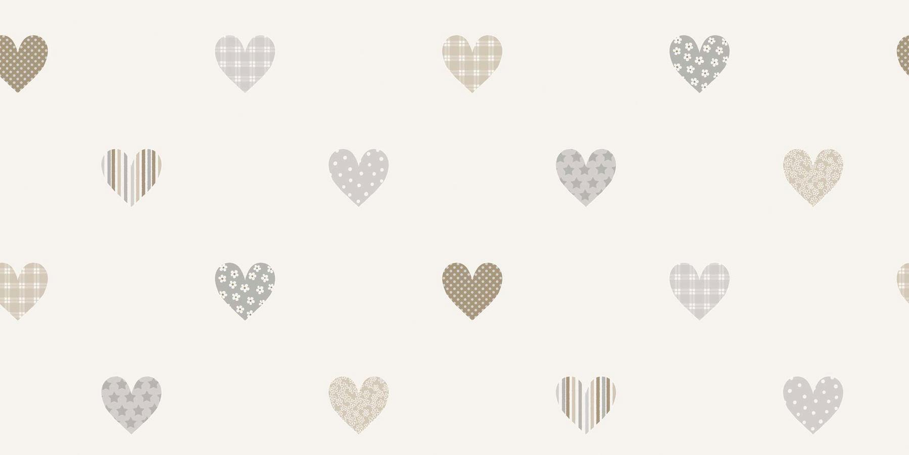 Papel pintado infantil corazones estampados en grises for Papel decomural infantil
