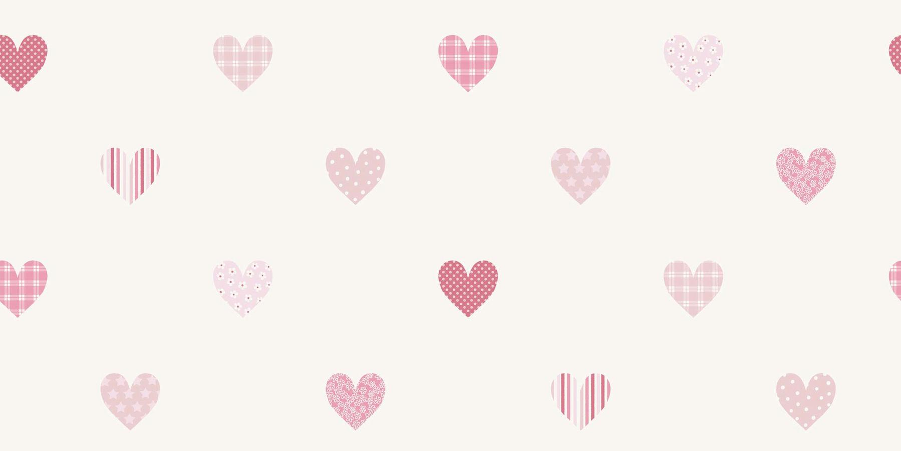 Papel pintado infantil corazones estampados en fresas - Cenefas de papel infantiles ...