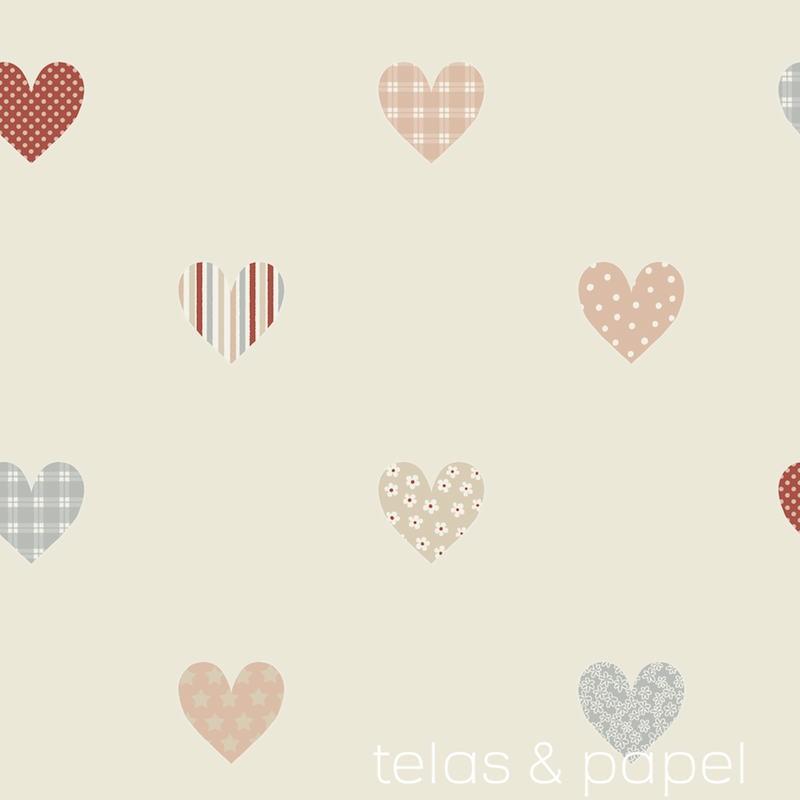 Papel pintado infantil corazones estampados telas papel - Baby meisje slaapkamer foto ...