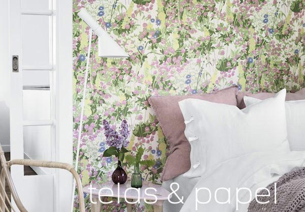 Tienda online telas papel papel pintado con flores - Dormitorio con papel pintado ...