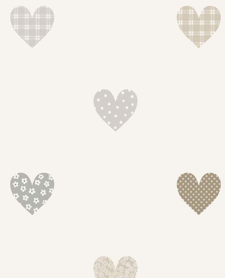 Papel pintado infantil corazones estampados en grises for Papel pintado estampado