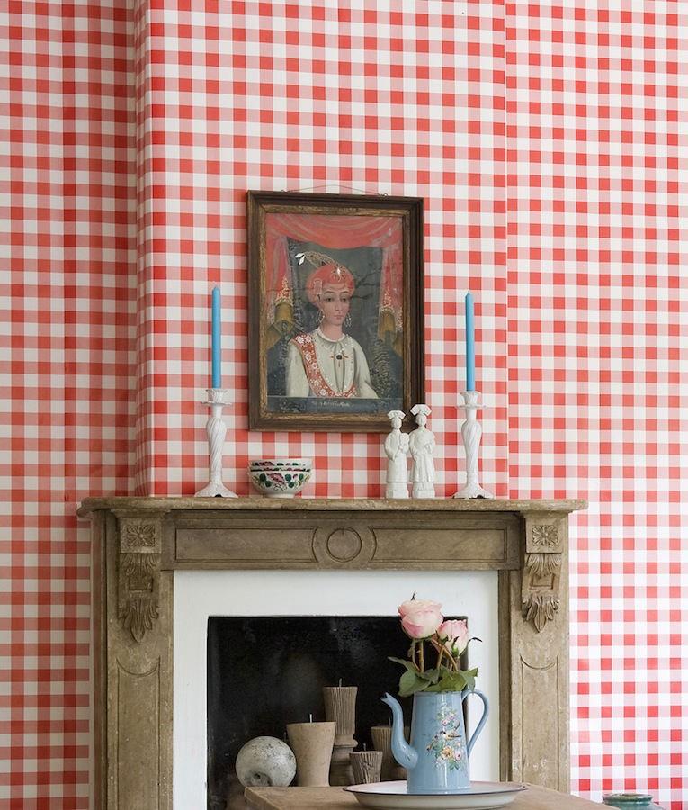 Tienda online telas papel papel pintado cuadros check for Papel pintado rojo