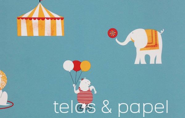 papel pintado infantil Circus con fondo azul